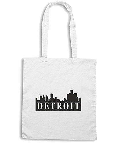 T-Shirtshock - Borsa Shopping TSTEM0023 detroit skyline logo Bianco