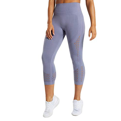 Damen Sommer Yogahose, Sumeiwilly 3/4 Leggings Stretch Trainings Fitnesshose Capri Laufhose High Waist Tights Jogginghose für Frauen -