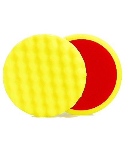 ALCLEAR 5613530M Schleifpad, Auto Polierschwämme, medium gewaffelt, Durchmesser: 135x25 mm, gelb,2er Set, Polierpad polieren Pad Schwamm Polierschaum f. Poliermaschine