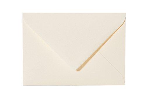 25 Stück hochwertige Briefumschläge mit Dreieckslasche 80g 14x19 cm, Farbe: 01 zartcreme