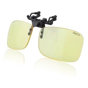 DUCO Clip Randlose Ergonomische Computer Brille mit Bernsteinfarbe Gläsern für Kurzsichtigkeit 8012