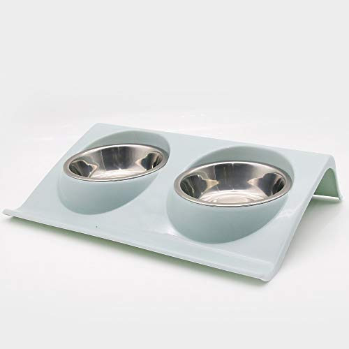 FENGJU Pet schräge Schüssel Katze Schüssel Edelstahl Katze Essen Schüssel Katze Essen Schüssel Hund Reis Schüssel Doppelschüssel Katze, blau