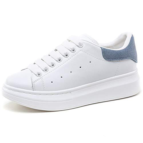 YORWOR Scarpe da Ginnastica Basse Uomo Sneaker Platform Outdoor Suola Comoda con Piattaforma Leggera Bianco Blue EU 44
