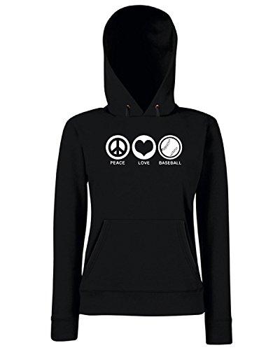 T-Shirtshock - Sweats a capuche Femme TLOVE0122 peace love baseball logo Noir