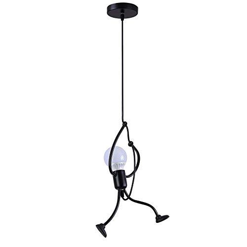 Goeco Pendelleuchte Schwarz Vintage LED Deckenleuchte- E27 Eisen Kronleuchter Modern Cartoon H?ngeleuchte für Kinder Schlafzimmer Wohnzimmer Foyer Küche - Lampe nicht Enthalten