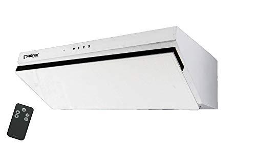 Phönix H-60G Dunstabzugshaube 60cm Glas Schräg Wandhaube LED Touch + FB (Weiß)