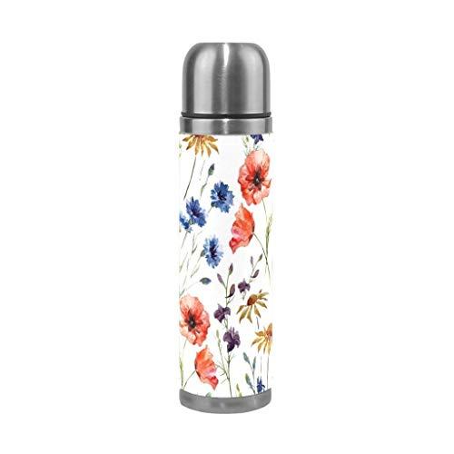 SGLI Fiore Foglia Acqua dell'Acciaio Inossidabile di Vuoto della Bottiglia Isolato Prova della Perdita di Doppio Bottiglia di Vuoto Tazza Thermos