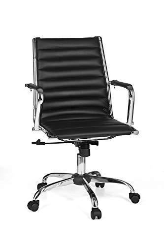 FineBuy Bürostuhl GENUA 2 Bezug Kunstleder Schwarz Design Schreibtischstuhl höhenverstellbar X-XL 110kg Chefsessel ergonomisch Drehstuhl mit Armlehnen Rücken-Lehne Wippfunktion verstellbar Schalensitz - Leder Home Decor