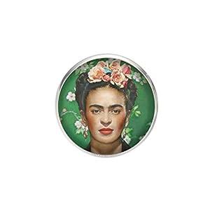Edelstahl Brosche, Durchmesser 25mm, Stift 0,7mm, handgemachte Illustration Frida Feminist