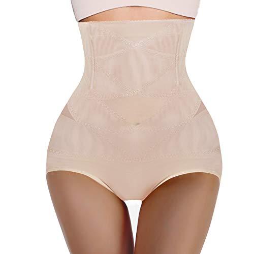 Nebility Damen Butt Lifter Shapewear Hi-Waist Double Bauch Control Panty Taille Trainer Body Shaper - Beige - Klein -