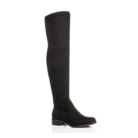 Femmes talon bas élastique bottes au-dessus du genou cuissardes pointure 6 39