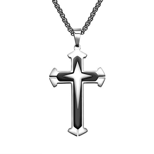 bigsoho Halskette Anhänger Kreuz Kettenanhänger Edelstahl Herren Schmuck Kette 55cm (Schwarz)