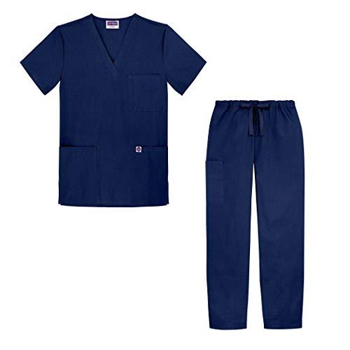 Sivvan Unisex-Schrubb-Set - Medizinische Uniform mit Oberteil und Hose S8400 Farbe: NVY | Größe: S - Set Krankenschwestern Medizinischen Scrubs Uniform