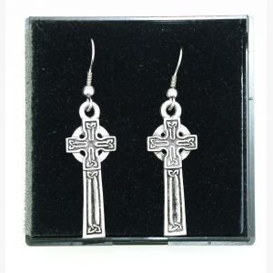Orecchini in peltro a forma di croce celtica - Peltro Celtica Orecchini