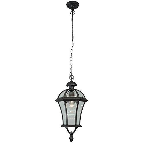MW-Light 811010301 Klassische Außen Pendelleuchte Aluminium Metall Schwarz 1 Flammig Außenbereich Lampenschirme Glas 1 Flammig IP44