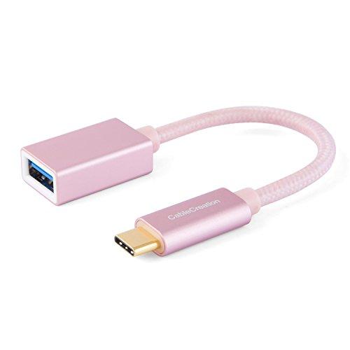 CableCreation USB-C auf USB Adapter Typ-C-Adapter,USB-Typ-C-Stecker auf USB 3.1 A-Buchse, USB c auf USB Adapter OTG Kabel, Neue MacBooks und viele Typ-C-Geräte, 15 cm, Rose Gold