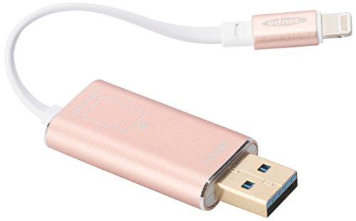 ednet Smart Memory mit App - Speichererweiterung für iPhone und iPad ab iOS 7.1 - unterstützt Micro SD-Karten bis 256GB - rosé gold