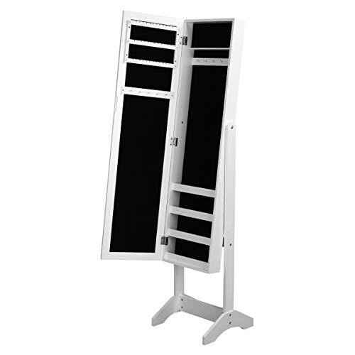 Yata home - armadio portagioie con specchio, per anelli, orecchini, bracciali, spille, laccato bianco e velluto nero