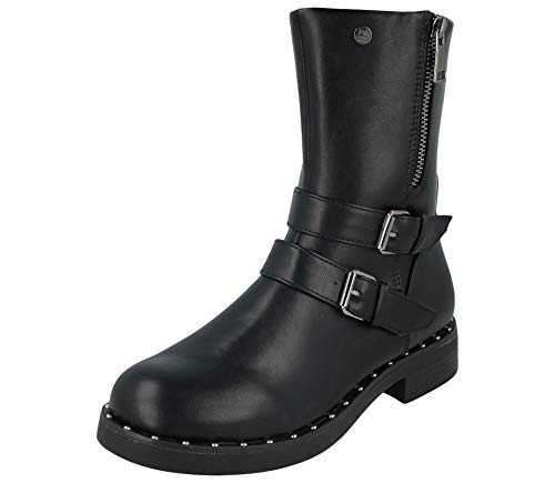 Fabulous Fabs Ladies Faux Leather Buckle Flat Casual Winter Mid Calf Length Biker Ankle Boots Size 3-9