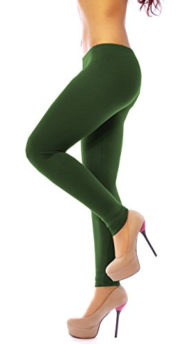 Easy Young Fashion Damen Leggings lang Viscose Jersey knöchellang einfarbig Sommer uni One Size XS S M L 34 36 38 40 Dunkel Grün Khaki