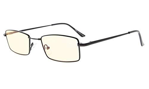 Eyekepper Erinnerung Titanium Brücke Computer Brille 50% blaues Licht blockieren Brillen Amber getönte Linse (Gold,+0.00)