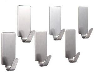 vinayaka mart Steel Adhesive Wall Hooks(6 Pcs) for Room, Kitchen, Bathroom, Clothes Etc. Load Capacity 300 Gms (Square)