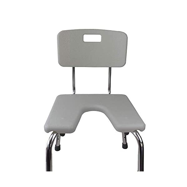 Mobiclinic, Marisma, Silla o taburete de baño, de ducha, ortopédica, altura regulable, respaldo, asiento en U, conteras antideslizantes