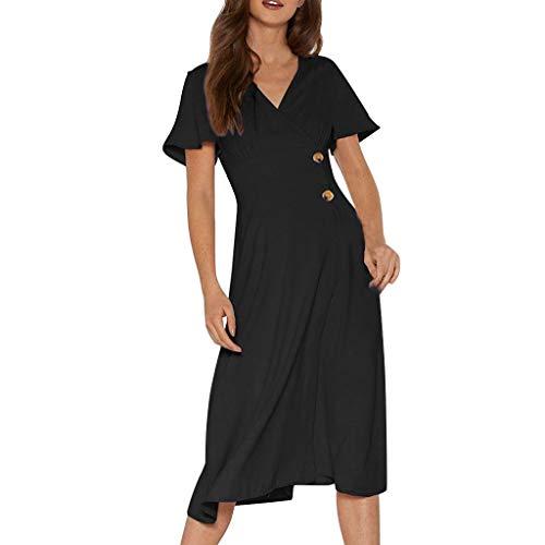rzarm V-Ausschnitt Button-Down Lässige Sommer Flowy Mittellanges Kleid ()