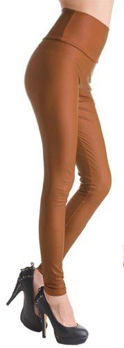 TDOLAH Damen Kunstleder High Waist Leggings Taillenhoch Strumpfhosen mit Farbwahl hell Kaffee