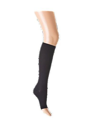 Medizinische Knielange Kompressionsstrümpfe Kniestrümpfe (AD), offene Spitze , Klasse 1, Schwarz (Large)