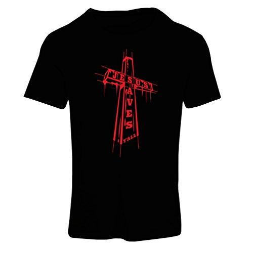 Frauen T-Shirt Jesus rettet Dich - christliche Religion Glaube Kleidung - Ostern, Auferstehung, Geburt Christi, religiöses Geschenk (Medium Schwarz Mehrfarben)