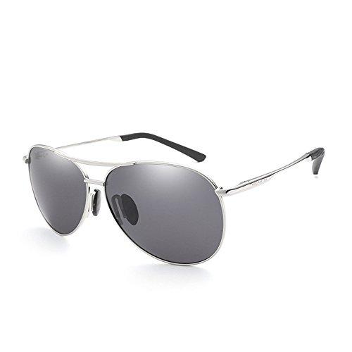 RFVBNM Sonnenbrille Outdoor-Mode polarisierte Persönlichkeit UV Männer und Frauen Sport Sonnenbrille Aviator Metall Sonnenbrille Driving Lens, Silber Frame Grey Lens