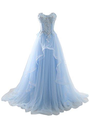 ivyd ressing robe haute qualité porteur Los ligne dentelle & mousseline longue a Prom Party robe robe du soir Bleu