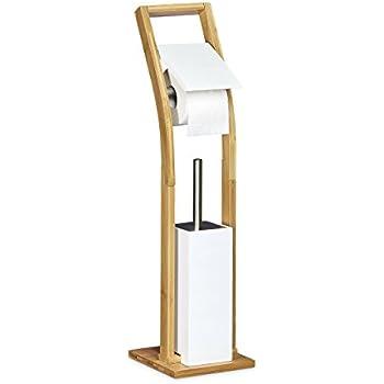 relaxdays wc garnitur aus bambus hbt 82 x 36 x 21 cm standgarnitur mit toilettenb rste und. Black Bedroom Furniture Sets. Home Design Ideas