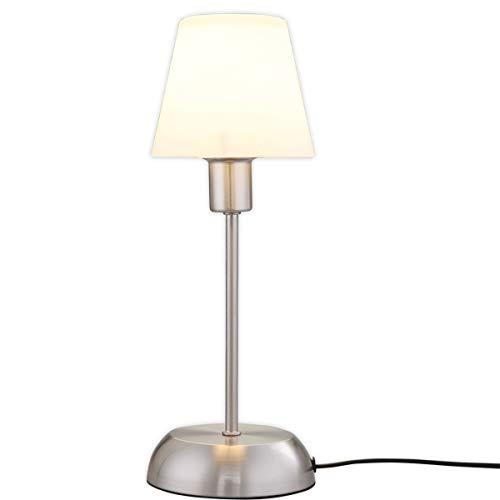 Lampenwelt Tischlampe 'Gregor' (inkl. Touchdimmer) dimmbar (Modern) in Weiß aus Metall u.a. für Schlafzimmer (1 flammig, E14, A++) - Nachttischleuchte, Schreibtischlampe, Nachttischlampe, Touch Lampe - Lampe Moderne Tischlampe