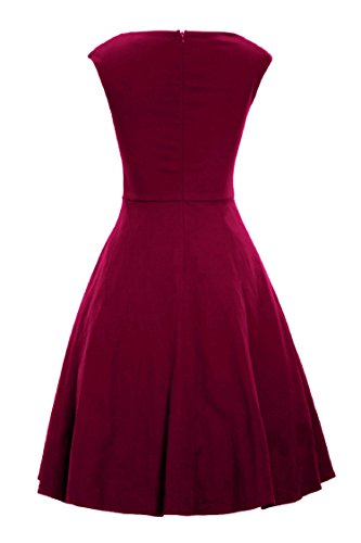 LUOUSE Damen Audrey Hepburn 50s Retro Vintage Bubble Skirt Rockabilly Swing Evening Kleider V041-WineRed