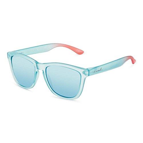 9198874c170 CORAL Sunglasses mixte - CRASQUI - lunettes de soleil bleu grivé et  lentilles de miroir bleu