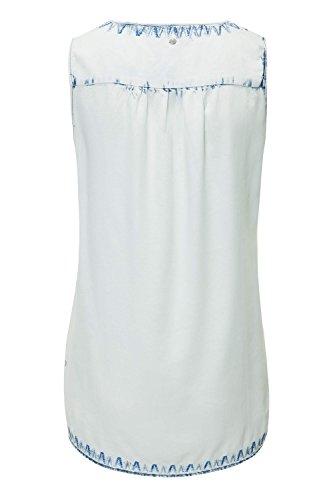 Khujo Damen Top Blusentop Bluse Shirt Stickerei Light Blue (N03)