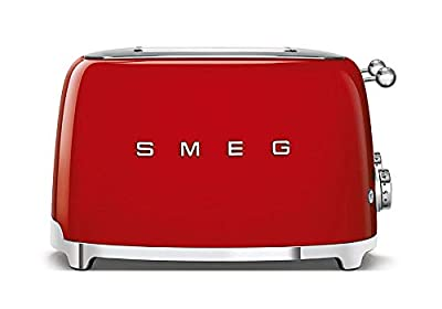 Smeg TSF03BLUK Retro 4 Slice Toaster, 4 Extra-Wide Slots, 6 Browning Levels, Automatic Pop-Up, Removable Crumb Tray