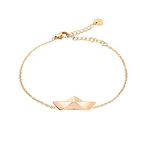 PAUL HEWITT Armkette Damen Gold Ahoy - Edelstahl Armband Damen (vergoldet) mit Damen Schmuck Anhänger in Gold aus Edelstahl (Papierboot)