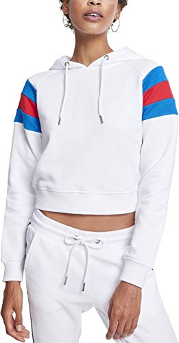 Urban Classics Damen Ladies Sleeve Stripe Hoodie Kapuzenpullover, Mehrfarbig (White/Brightblue/Firered 01557), Small -