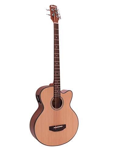 Set aus 2 x Akustikbässe FIVRE mit 5 Saiten und Palisander Griffbrett, natur - Akustischer Bass / Bassgitarre für Anfänger - klangbeisser