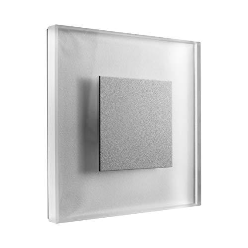 SET LED Treppenbeleuchtung Premium SunLED Large Warmweiß 230V 1W Echtes Glas Wandleuchten Treppenlicht mit Unterputzdose Treppen-Stufen-Beleuchtung Wandeinbauleuchte (Alu: Silbergrau, 7er Set) - Licht Wandleuchte Leuchte