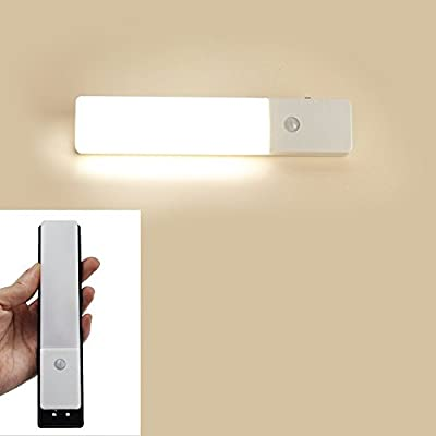 ZEEFO Wireless PIR Motion Sensor Light Closet Cabinet LED Light Hallway Stairs lamps, Built-in Lithium Battery Powered Wall Light Stick on Anywhere 3 Modes Auto On/Off LED Rechargeable Night Light (White) - low-cost UK light store.