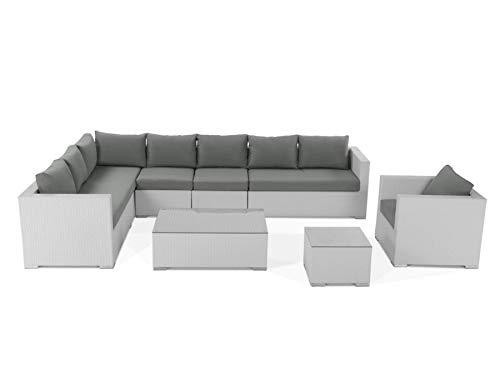 Luxuriöse Designer-Sitzgruppe in weiß mit grauen Polstern und Schutzhülle, Maße: siehe Fotos, 255.53SU