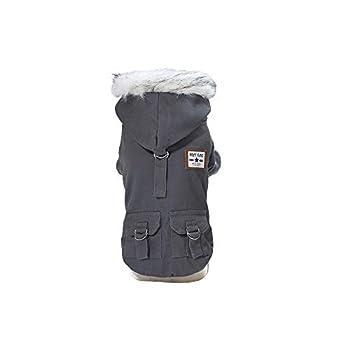 Vetement Chien,Manteau de Coton de Style Militaire Beau Chien de Compagnie avec Chapeau Automne et Hiver,Manteau pour Chien (L, Gris)