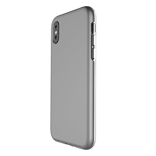 iPhone X Hülle, Voguecase TPU + PC 2 in 1 Silikon Schutzhülle / Case / Cover / Hülle / TPU Gel Skin für Apple iPhone X(LS/Schwarz) + Gratis Universal Eingabestift LS/Grau
