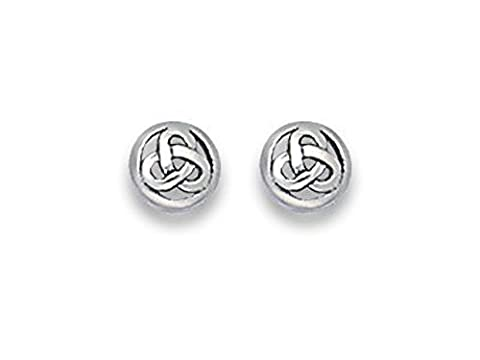Sterling Silver Celtic Earrings - Round Celtic Studs - Size: 6mm 5049. Gift Boxed.