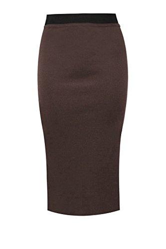 Womens Plain Office Work Pencil Ladies Stretch Bodycon Mini Midi Skirt Size 8-26 Brown