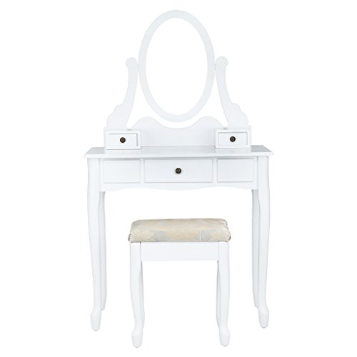LANGRIA Tocador Mesa Maquillaje con Espejo Ovalado Ajustable Giratorio de 360 Grados, 3 Cajones y Taburete Acolchado Tapizado Jacquard Estilo Romántico